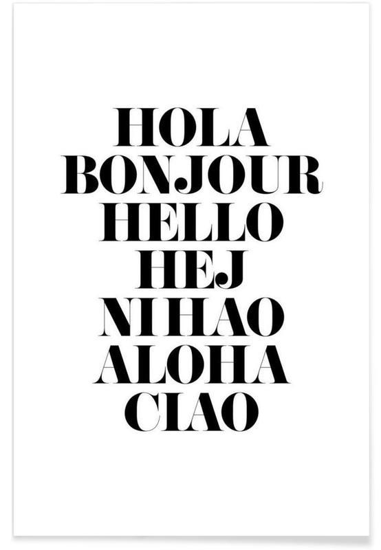 Zwart en wit, Quotes en slogans, Hellos talen poster