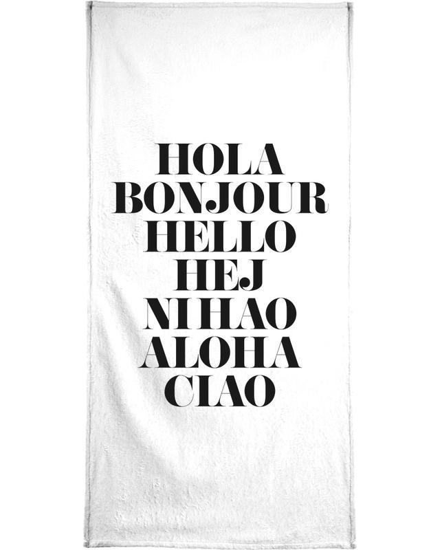 Black & White, Quotes & Slogans, Hellos Bath Towel