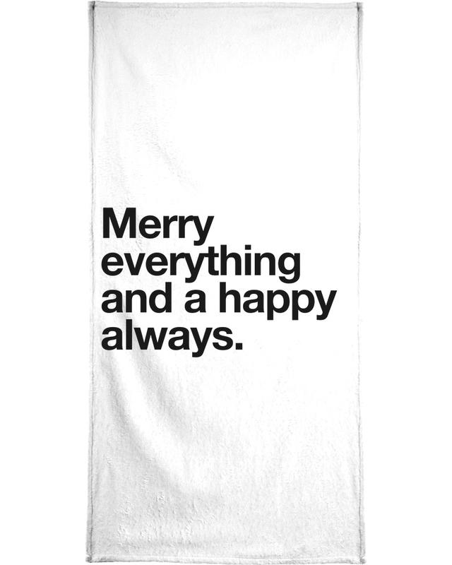Black & White, Quotes & Slogans, Merry Bath Towel