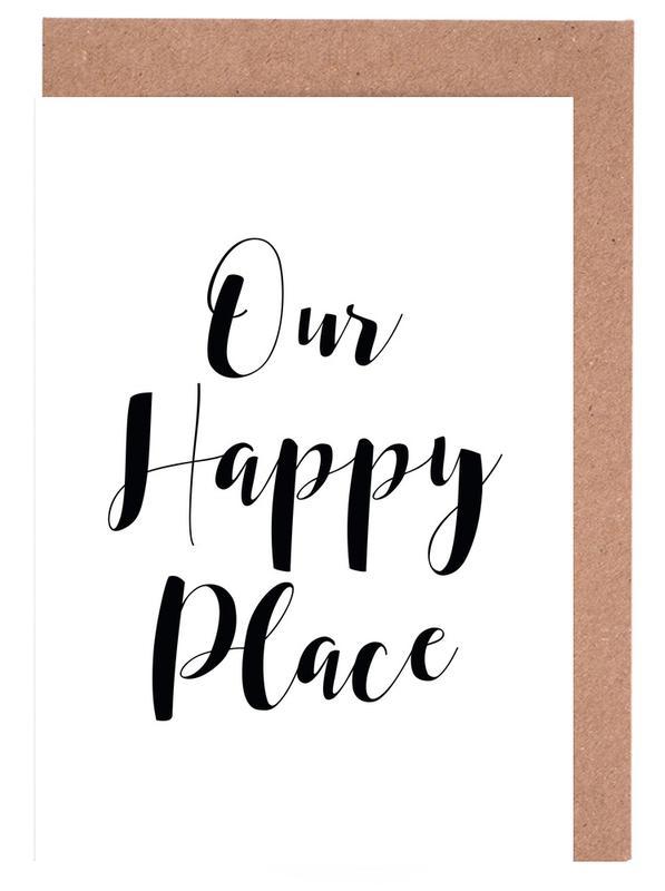 Citations et slogans, Crémaillères, Noir & blanc, Our Happy Place cartes de vœux