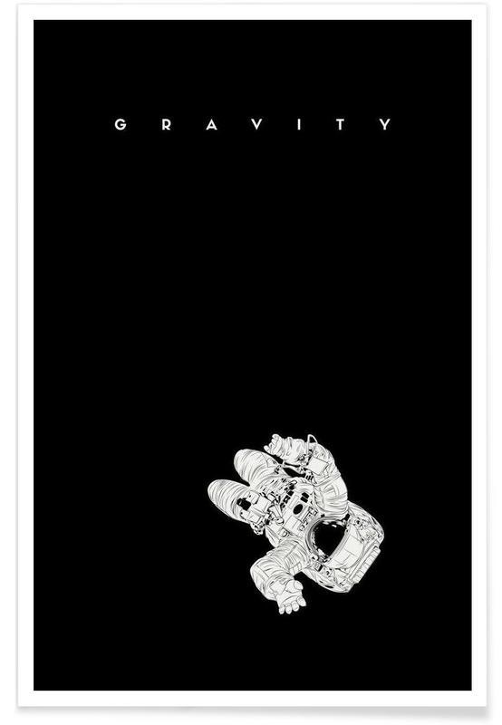 Astronautes, Noir & blanc, Films, Gravity affiche