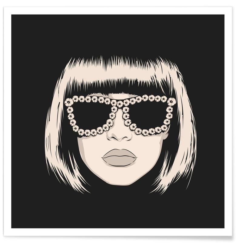 Fashion Illustrations, Black & White, Portraits, Pulp 02 Poster