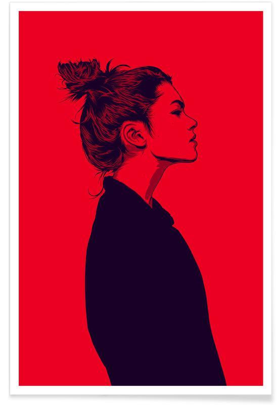 Portretten, Mode-illustratie, Calmly 02 poster