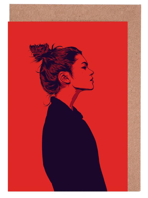 Portraits, Fashion Illustrations, Calmly 02 Greeting Card Set
