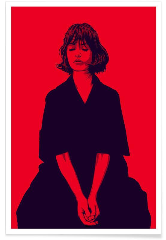 Portraits, Illustrations de mode, Calmly 01 affiche