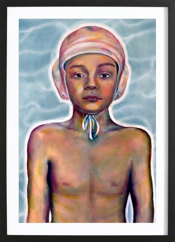 Swimming Boy -Bild mit Holzrahmen