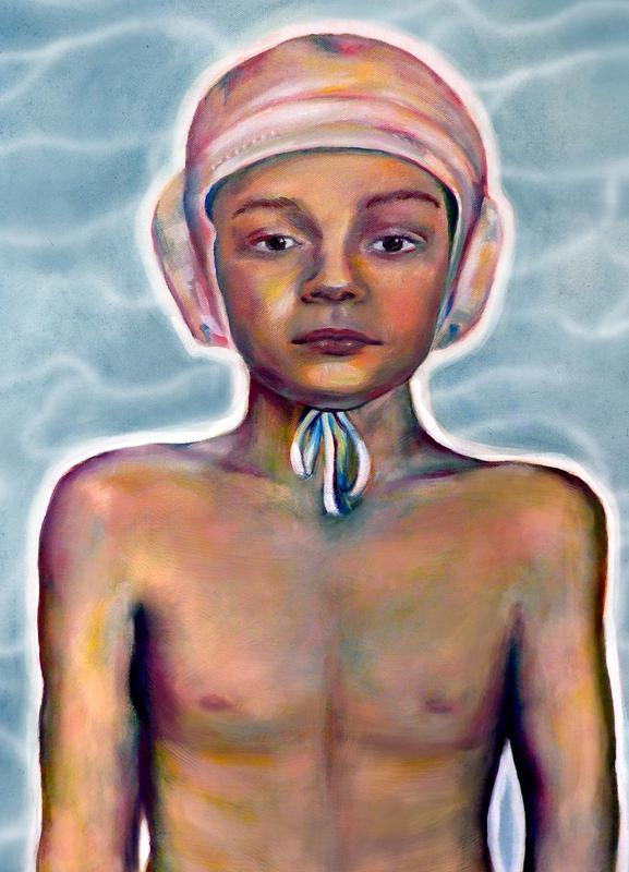Swimming Boy Canvas Print