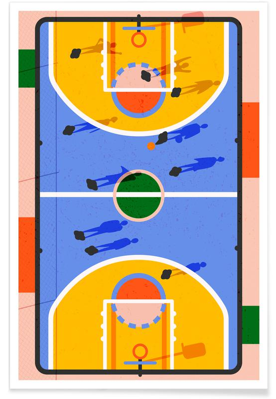Basket-ball, Art pour enfants, Hoops affiche