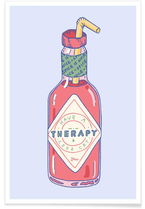 Funny, Motivational, Hot Sauce Therapy Poster