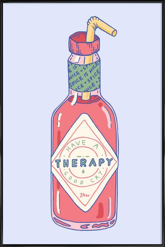 Hot Sauce Therapy -Bild mit Kunststoffrahmen