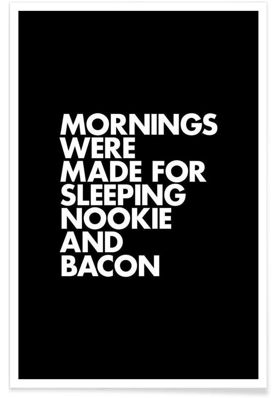 Sleeping Nookie Bacon White Poster