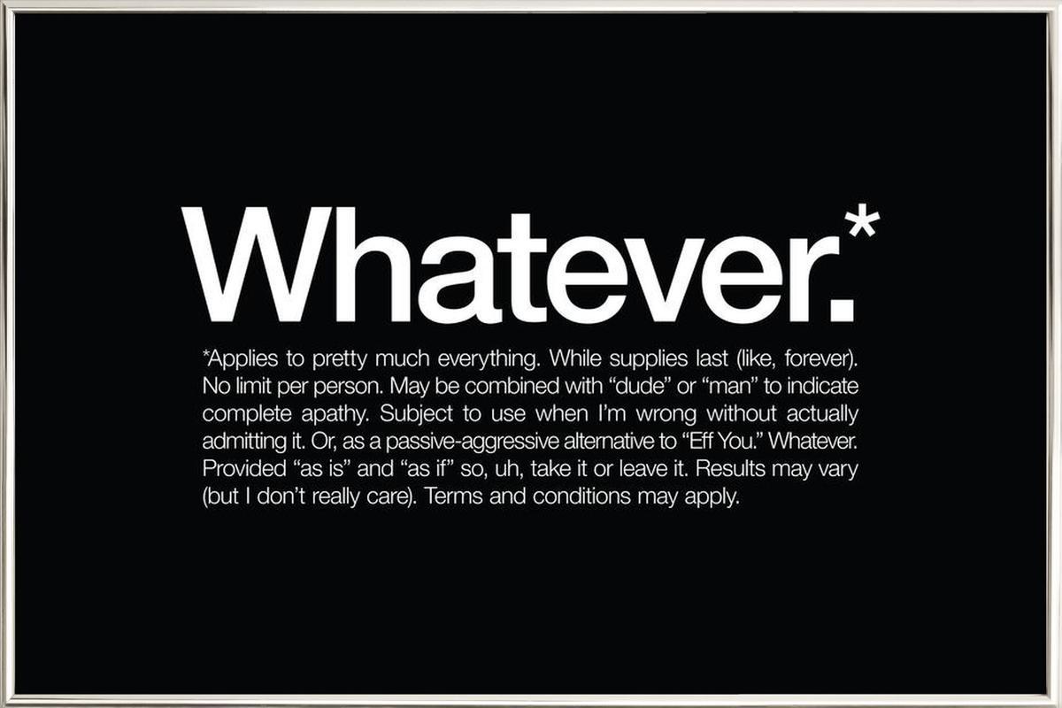 Whatever* affiche sous cadre en aluminium