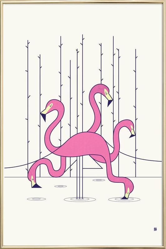 Flamingo -Poster im Alurahmen
