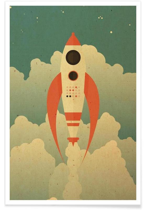 Fusées et vaisseaux spatiaux, Art pour enfants, The Destination affiche
