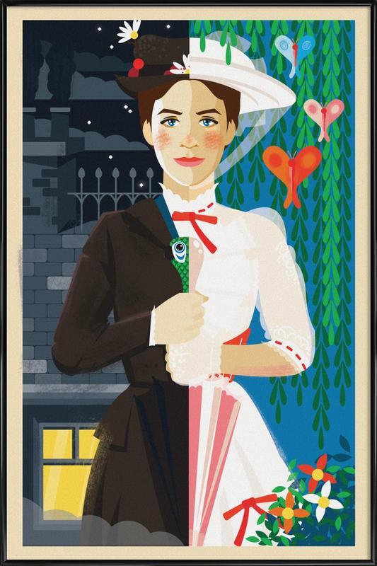 Mary Poppins -Bild mit Kunststoffrahmen