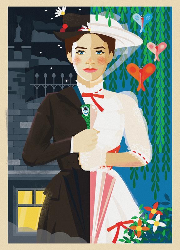 Mary Poppins canvas doek