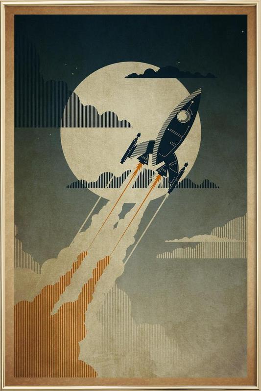 Night Launch -Poster im Alurahmen