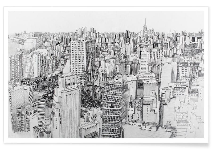 Noir & blanc, Gratte-ciels, Outside the city affiche