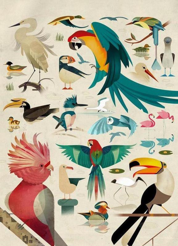 Birds canvas doek