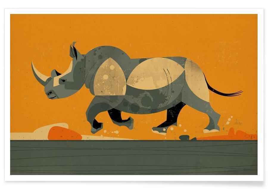 Rhinos, Nursery & Art for Kids, Retro, Vintage Rhino Poster