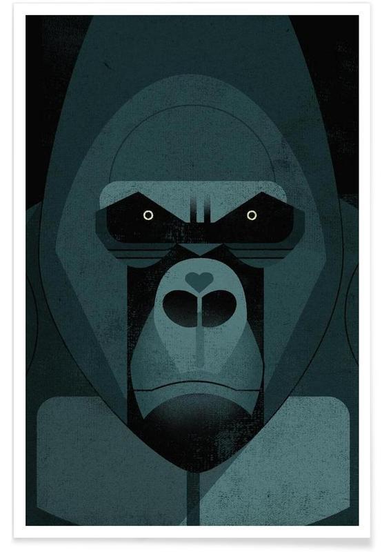 Rétro, Singes, Gorille vintage affiche