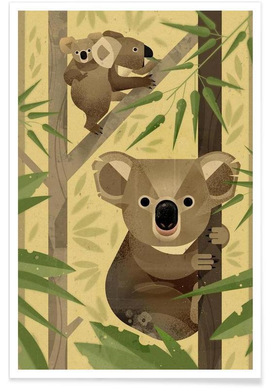 Koalas, Art pour enfants, Koala vintage affiche