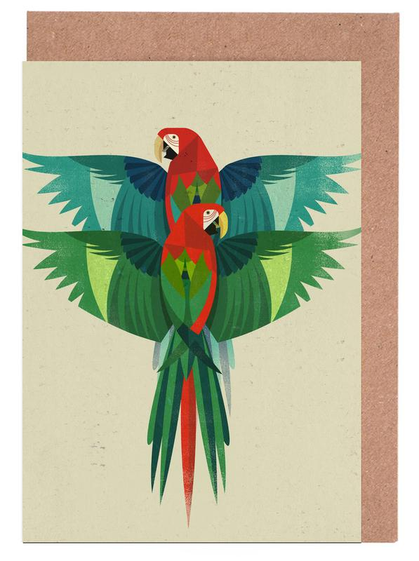 Perroquets, Rétro, Ara cartes de vœux