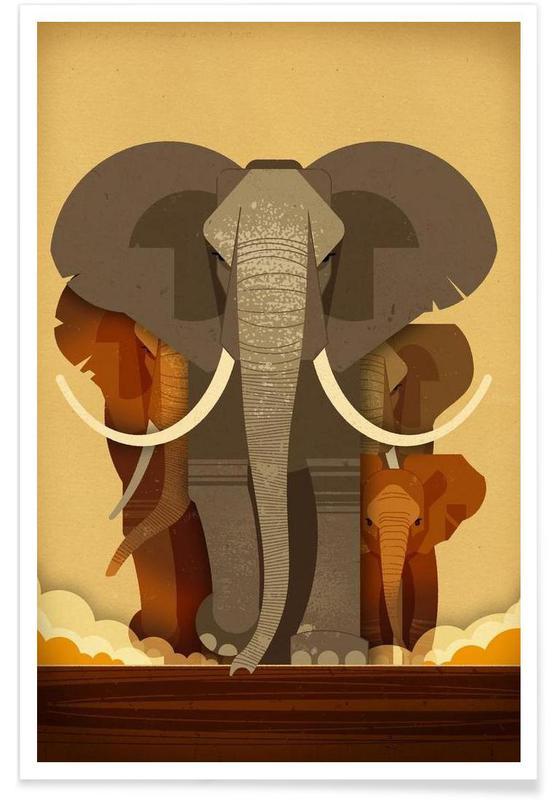 Éléphants vintage affiche