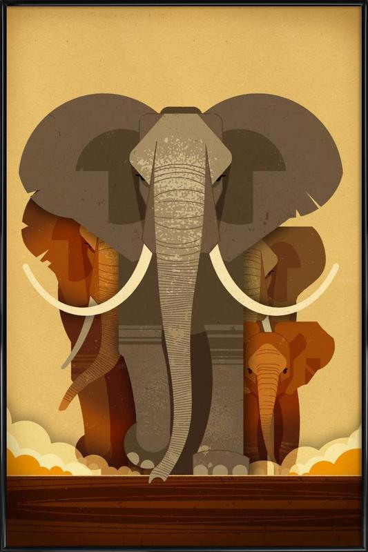 Elephants affiche encadrée