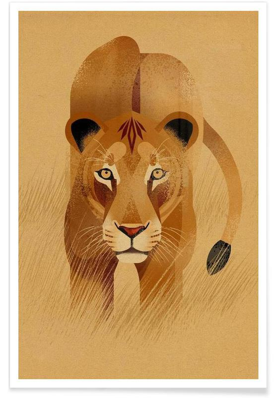 Lions, Lion vintage affiche
