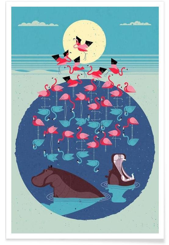 Vintage Flamingos Poster