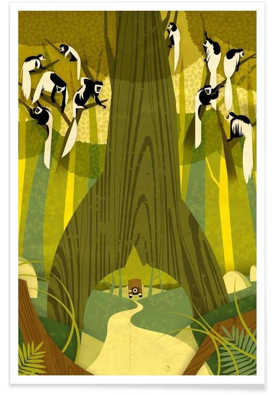 Vintage zwartwitte franjeaap poster