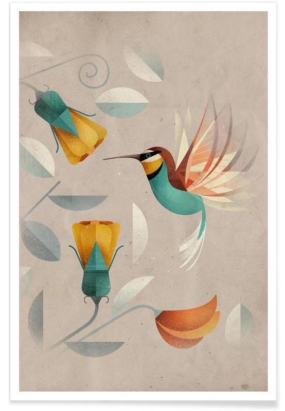 Hummingbirds, Vintage Kolibri Poster