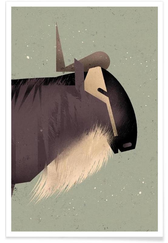 , Vintage Wildebeest Poster