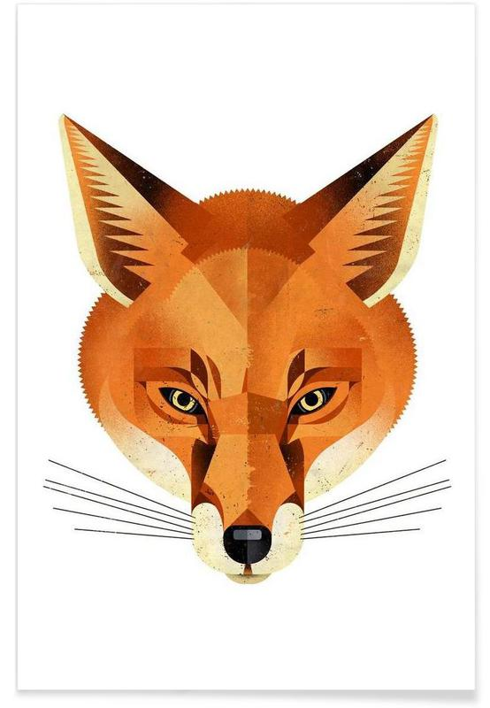 Foxes, Vintage Fox Poster