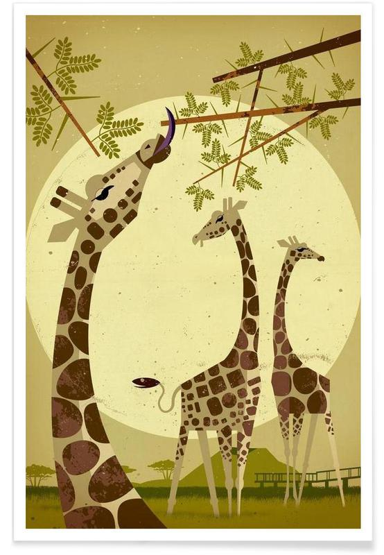 Vintage Giraffes Poster