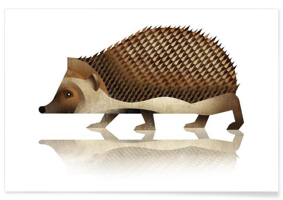 , Vintage Hedgehog Poster