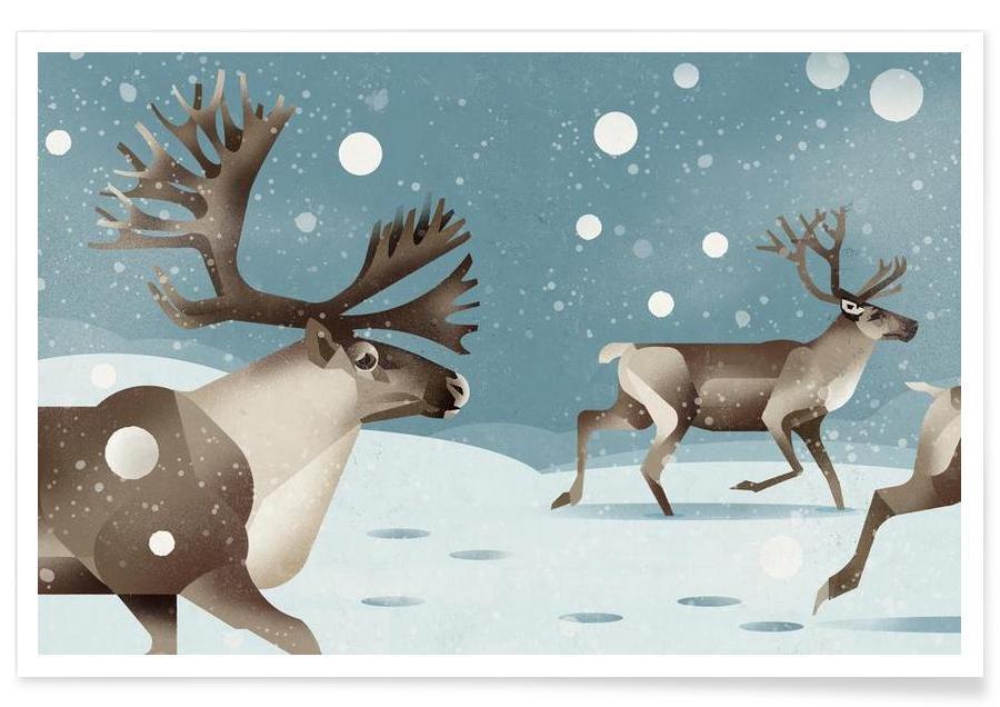 Deer, Vintage Reindeer Poster