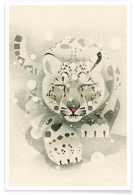 Vintage Snow Leopard Poster