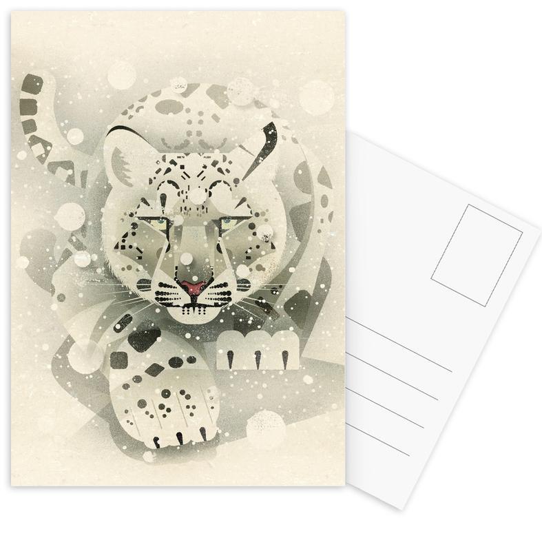 Schneeleopard Postcard Set