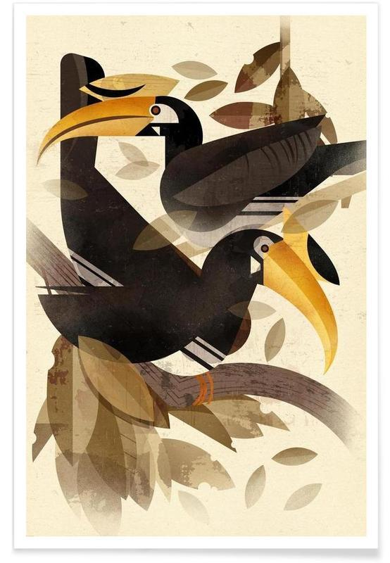 , Vintage-Hornvogel -Poster