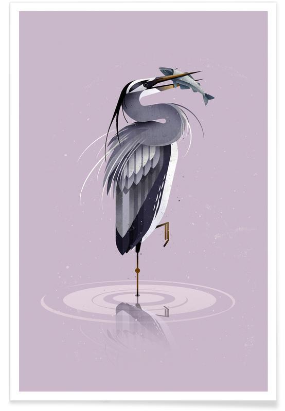 , Vintage Grey Heron Poster