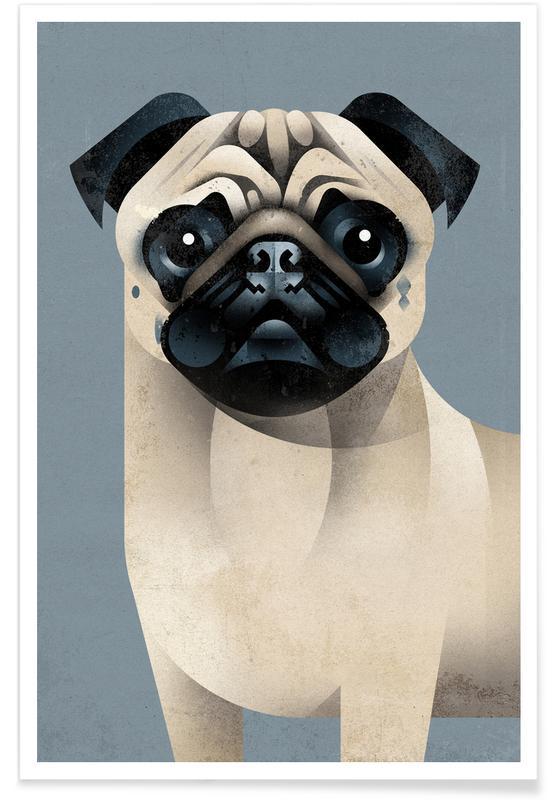 Vintage Pug póster