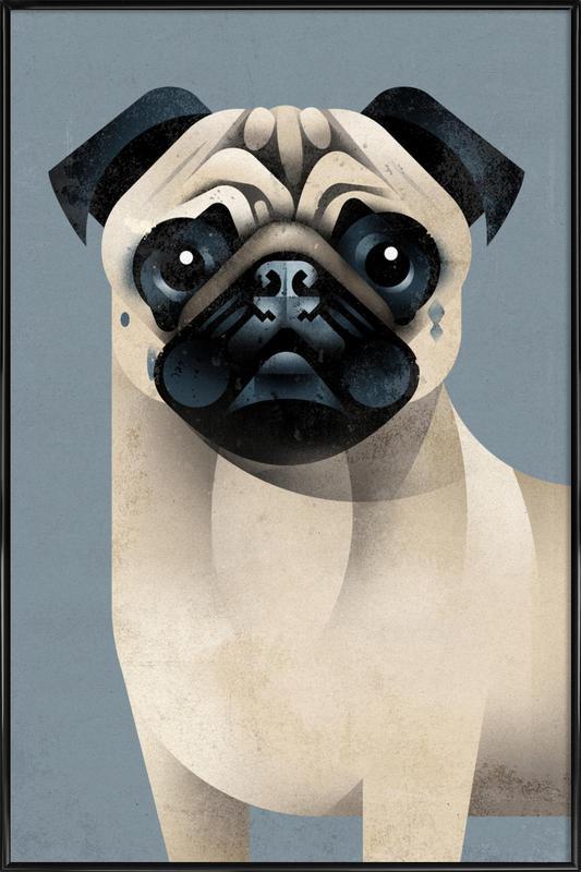 Pug -Bild mit Kunststoffrahmen