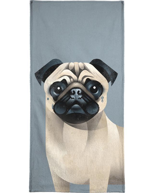 Chiens, Pug serviette de bain