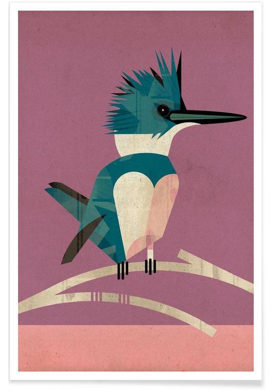 Martin-pêcheur vintage affiche