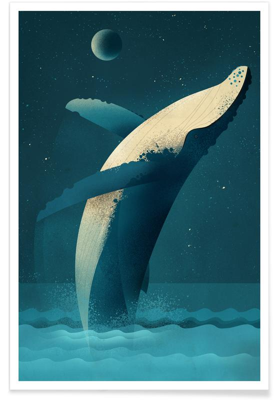 Nursery & Art for Kids, Whales, Vintage Humpback Whale Poster