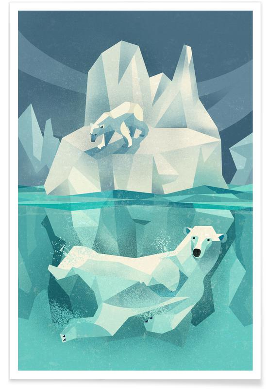 Bears, Nursery & Art for Kids, Vintage Polar Bear Poster