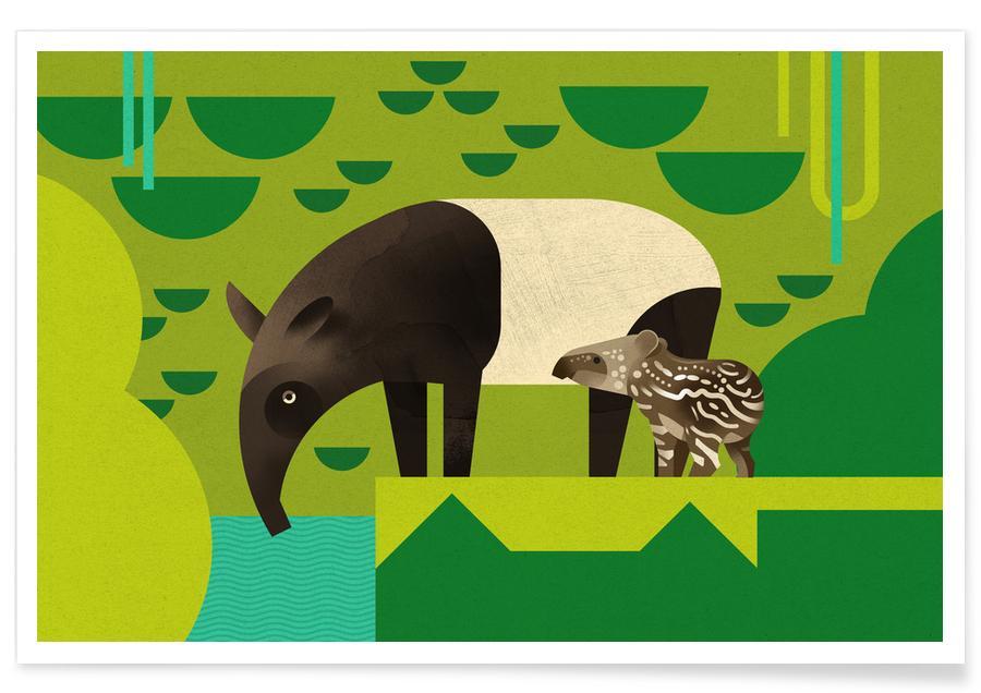 Nursery & Art for Kids, Vintage Tapir Poster