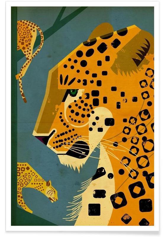 Retro, Geparder, Vintage Leopard Plakat